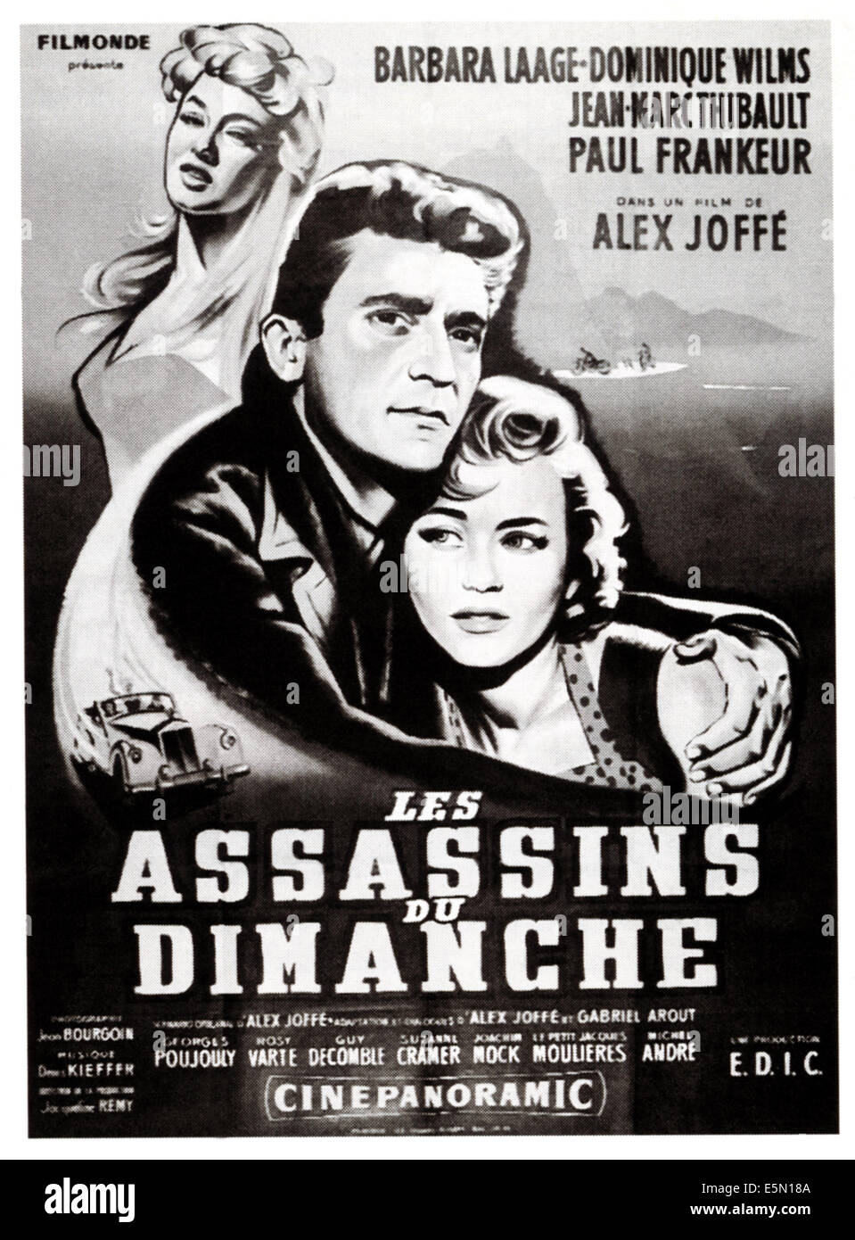 LES ASSASSINS DU DIMANCHE, French poster art, 1956. - Stock Image