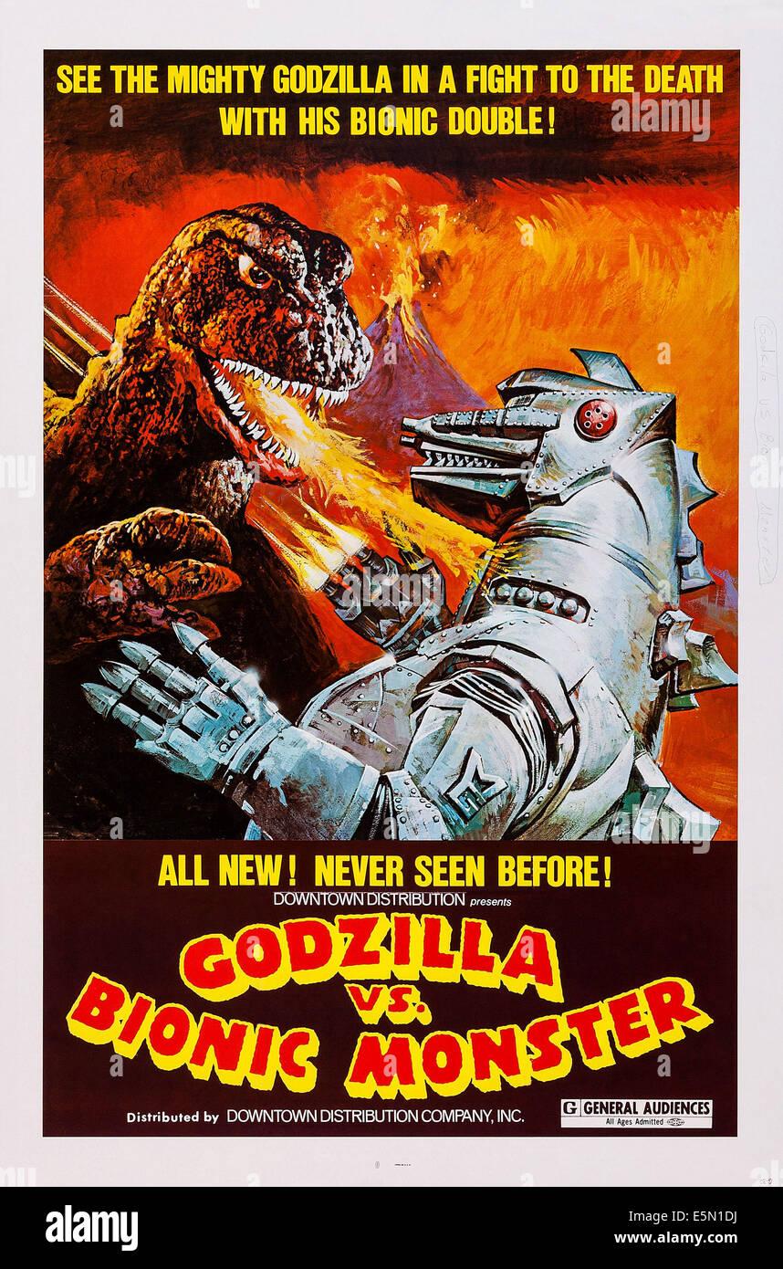 GODZILLA VS. BIONIC MONSTER (aka GOJIRA TAI MEKAGOJIRA), US poster art, Godzilla, Bionic Monster, 1974 - Stock Image