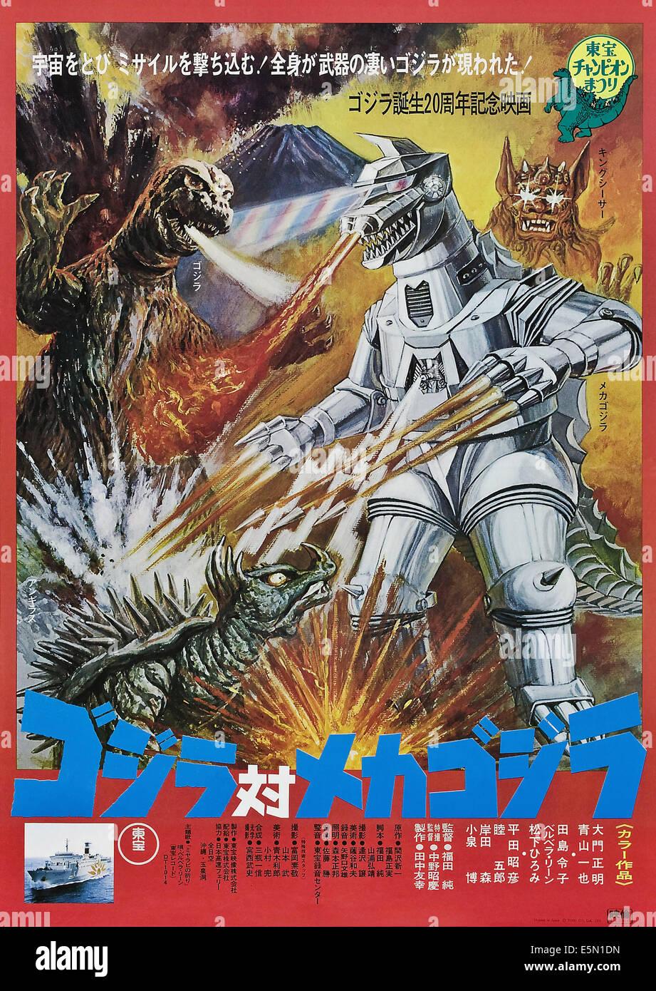 GODZILLA VS. MECHAGODZILLA (aka GOJIRA TAI MEKAGOJIRA), from left: Godzilla, Mechagodzilla on Japanese poster art, - Stock Image
