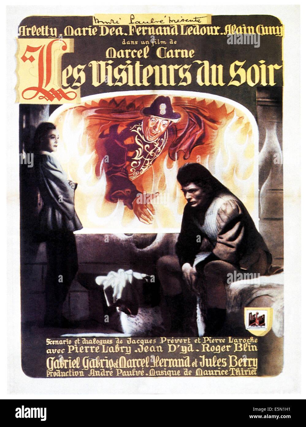 LE VISITEURS DU SOIR, French poster art, 1943. - Stock Image