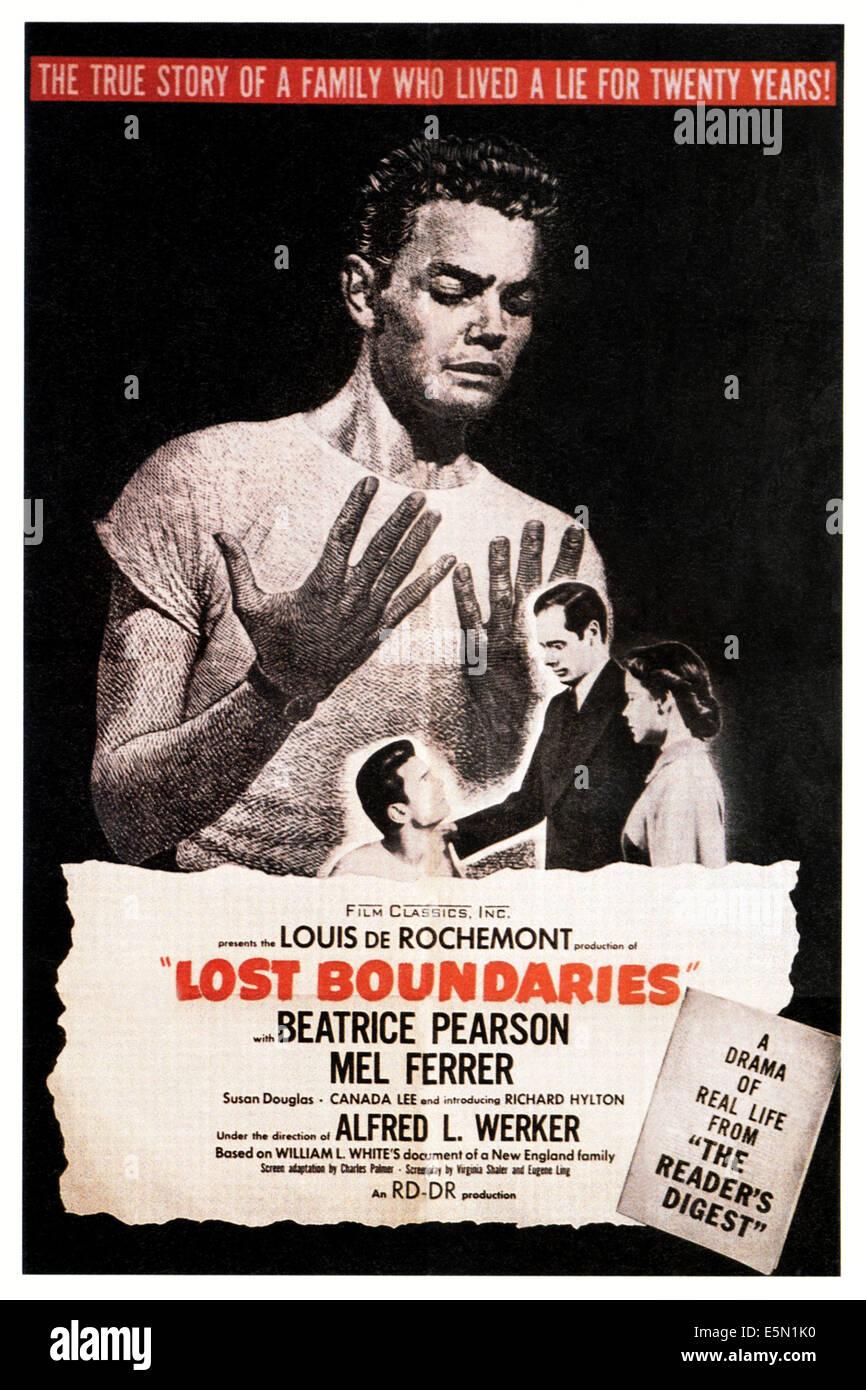 LOST BOUNDARIES, poster art, 1949. - Stock Image