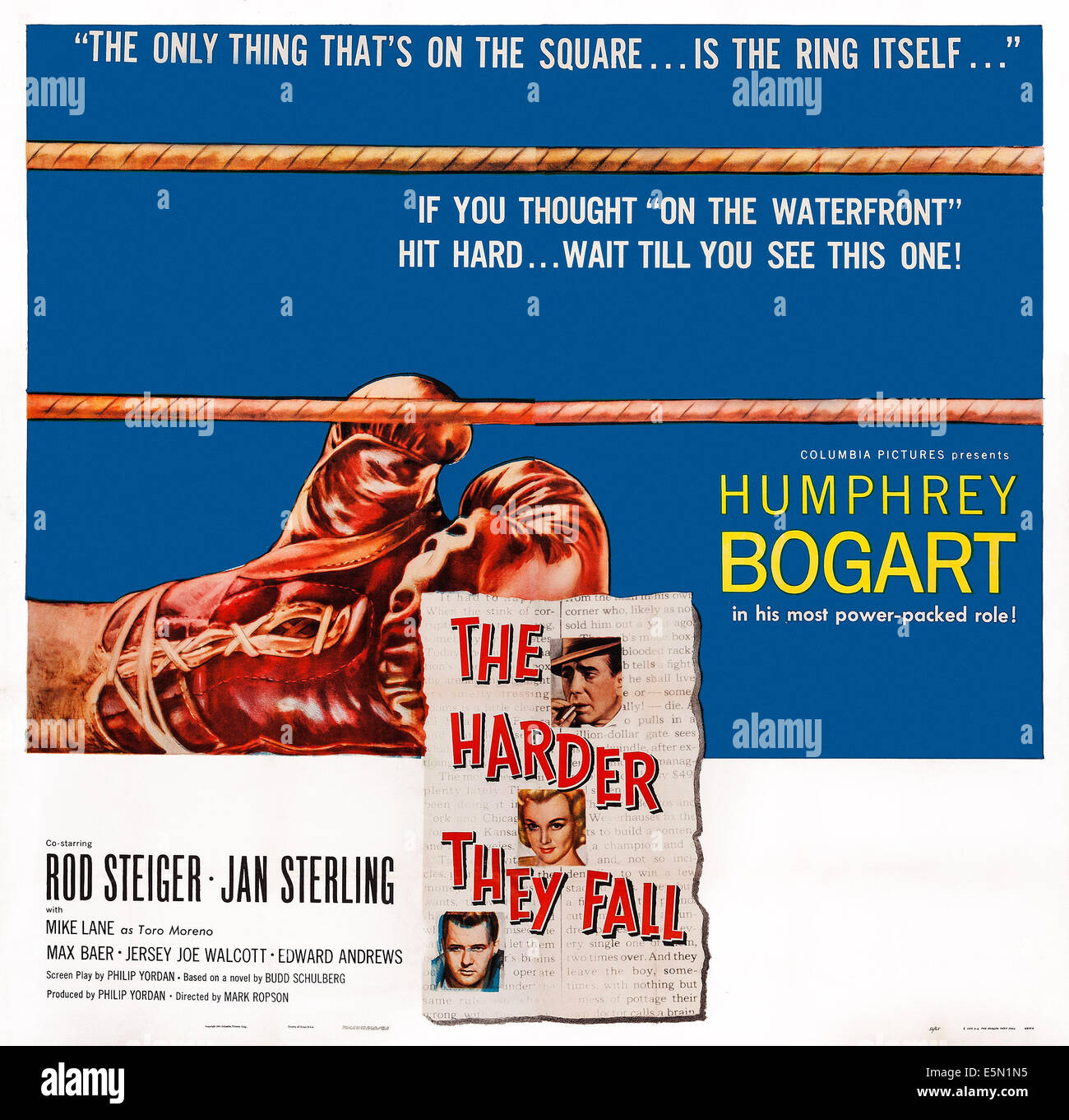 THE HARDER THEY FALL, US poster art, from top: Humphrey Bogart, Jan Sterling, Rod Steiger, 1956. - Stock Image