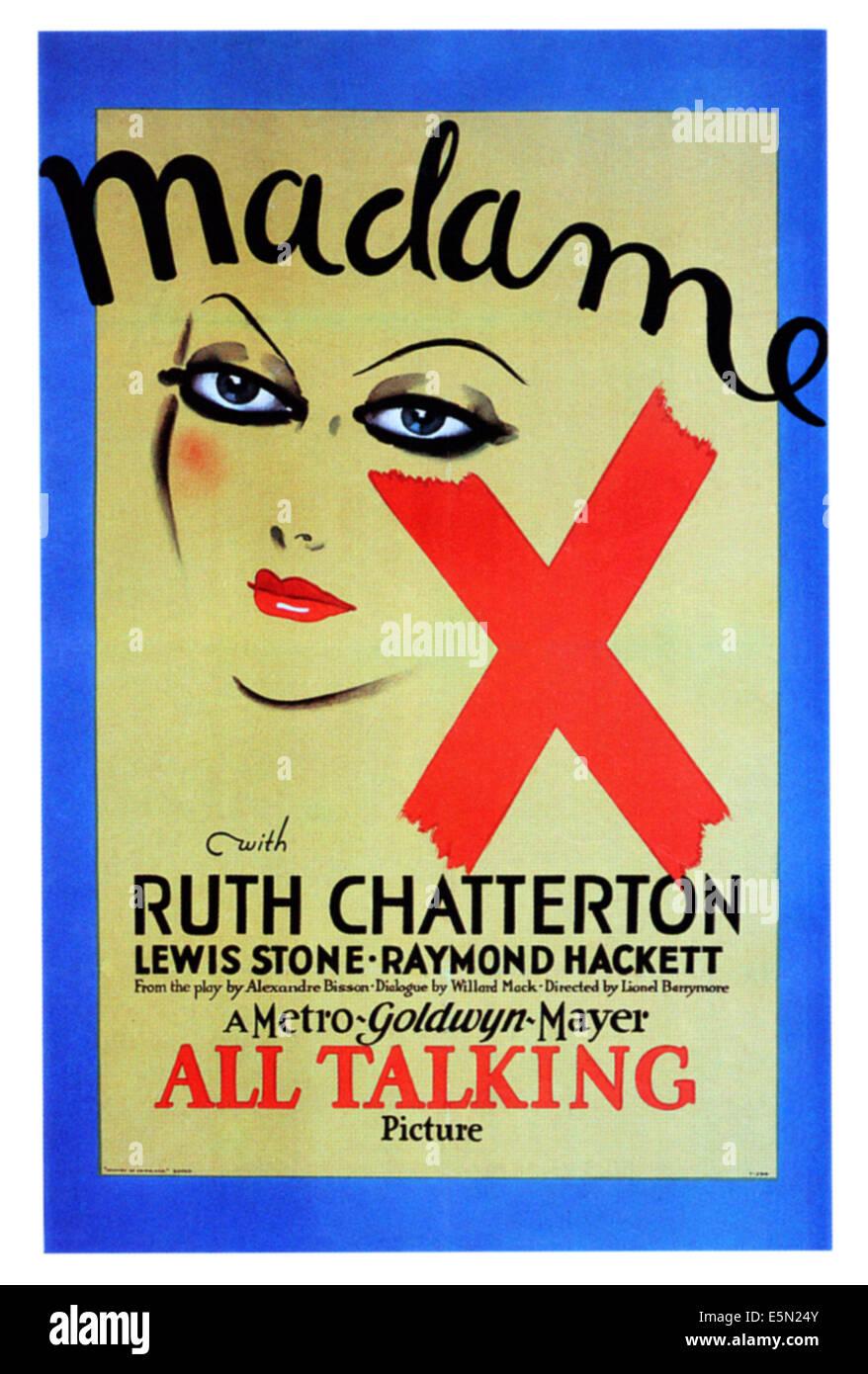 MADAME X, poster art, 1929 - Stock Image