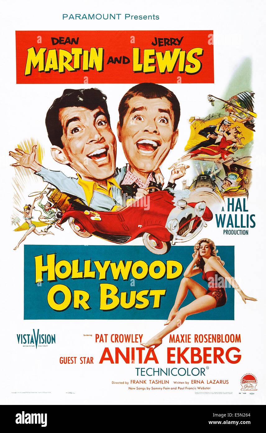 HOLLYWOOD OR BUST, top l-r: Dean Martin, Jerry Lewis, bottom: Anita Ekberg on poster art, 1956 - Stock Image