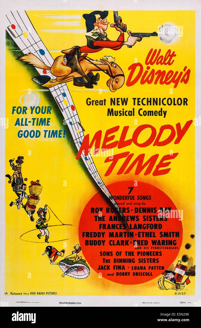 Melody Time Us Poster 1948 Stock Photo Alamy