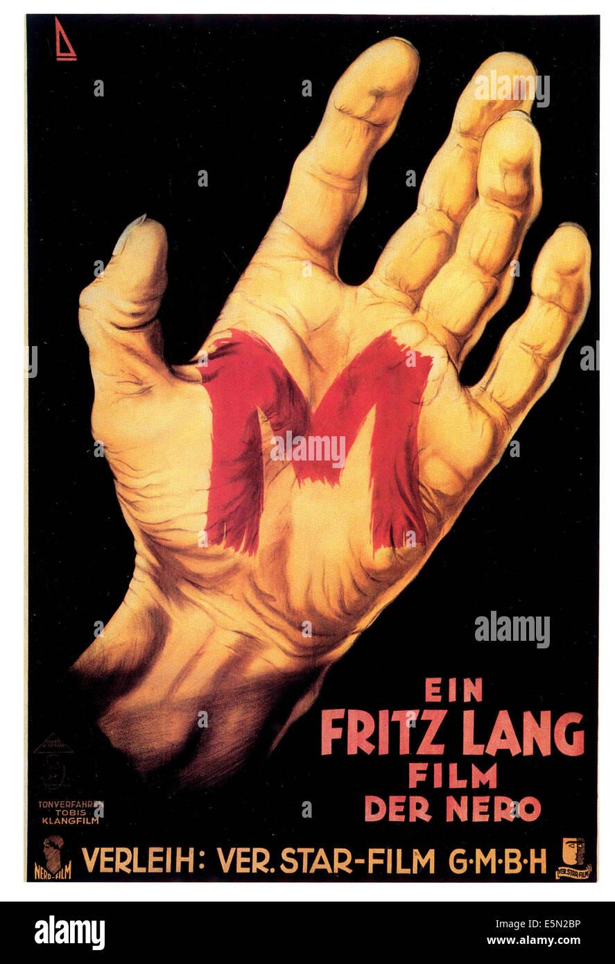 M, (aka M - EINE STADT SUCHT EINEN MORDER), 1931, German poster art - Stock Image