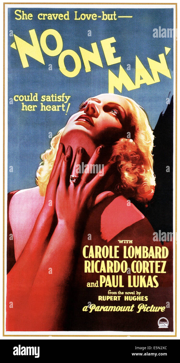 NO ONE MAN, Carole Lombard, 1932. - Stock Image