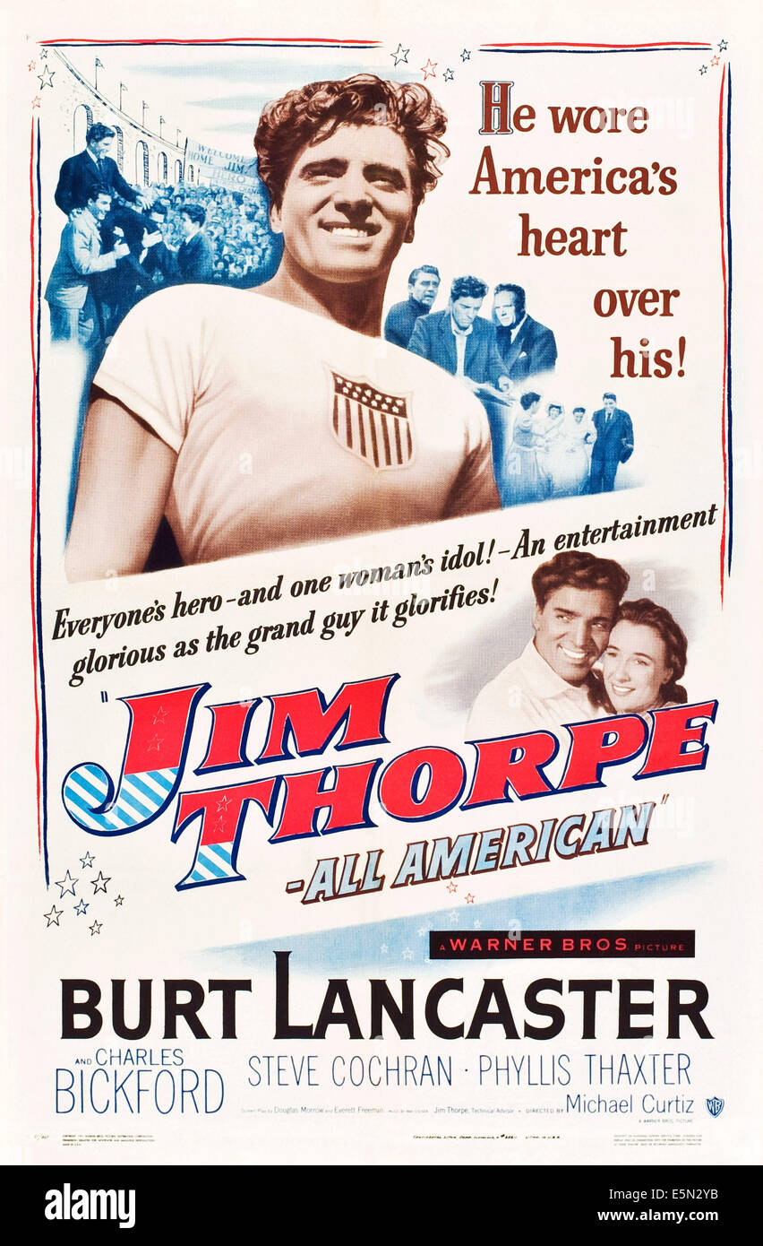 JIM THORPE - ALL-AMERICAN, Burt Lancaster, Phyllis Thaxter, 1951 - Stock