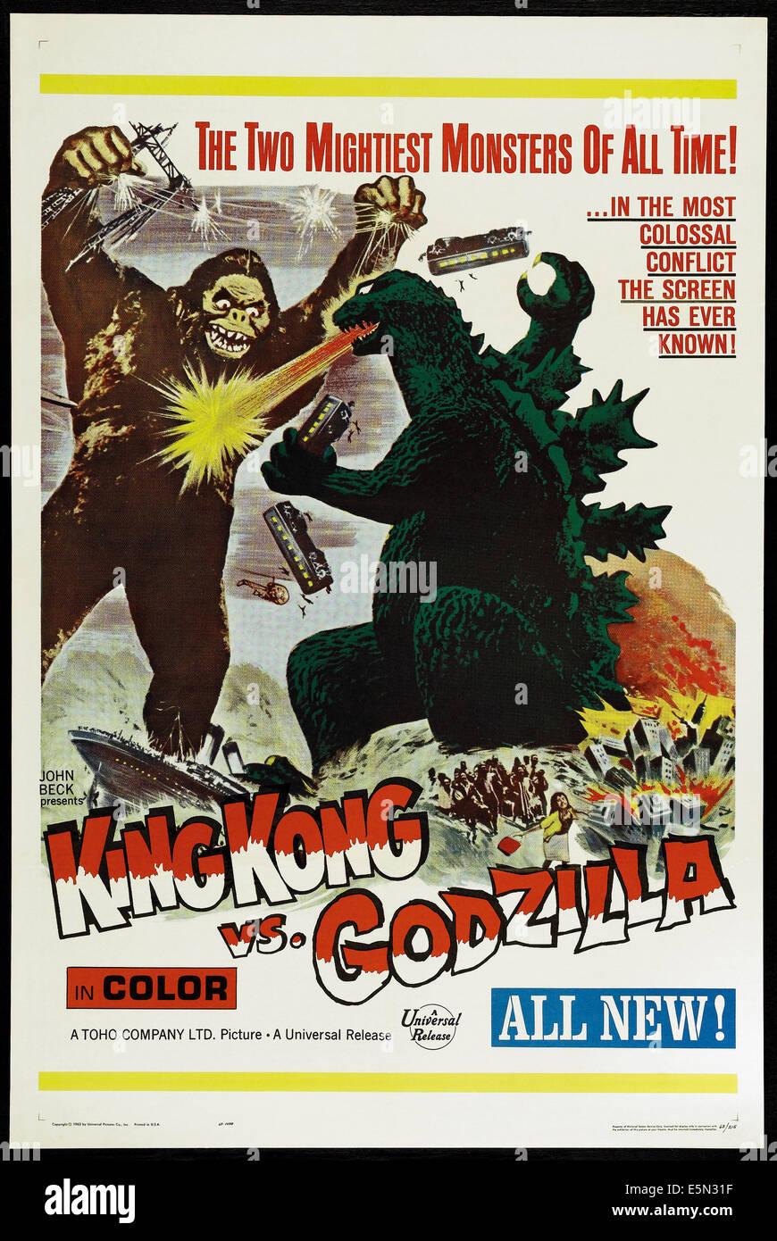 KING KONG VS. GODZILLA (aka KINGU KONGU TAI GOJIRA), US poster, King Kong, Godzilla, 1962 - Stock Image