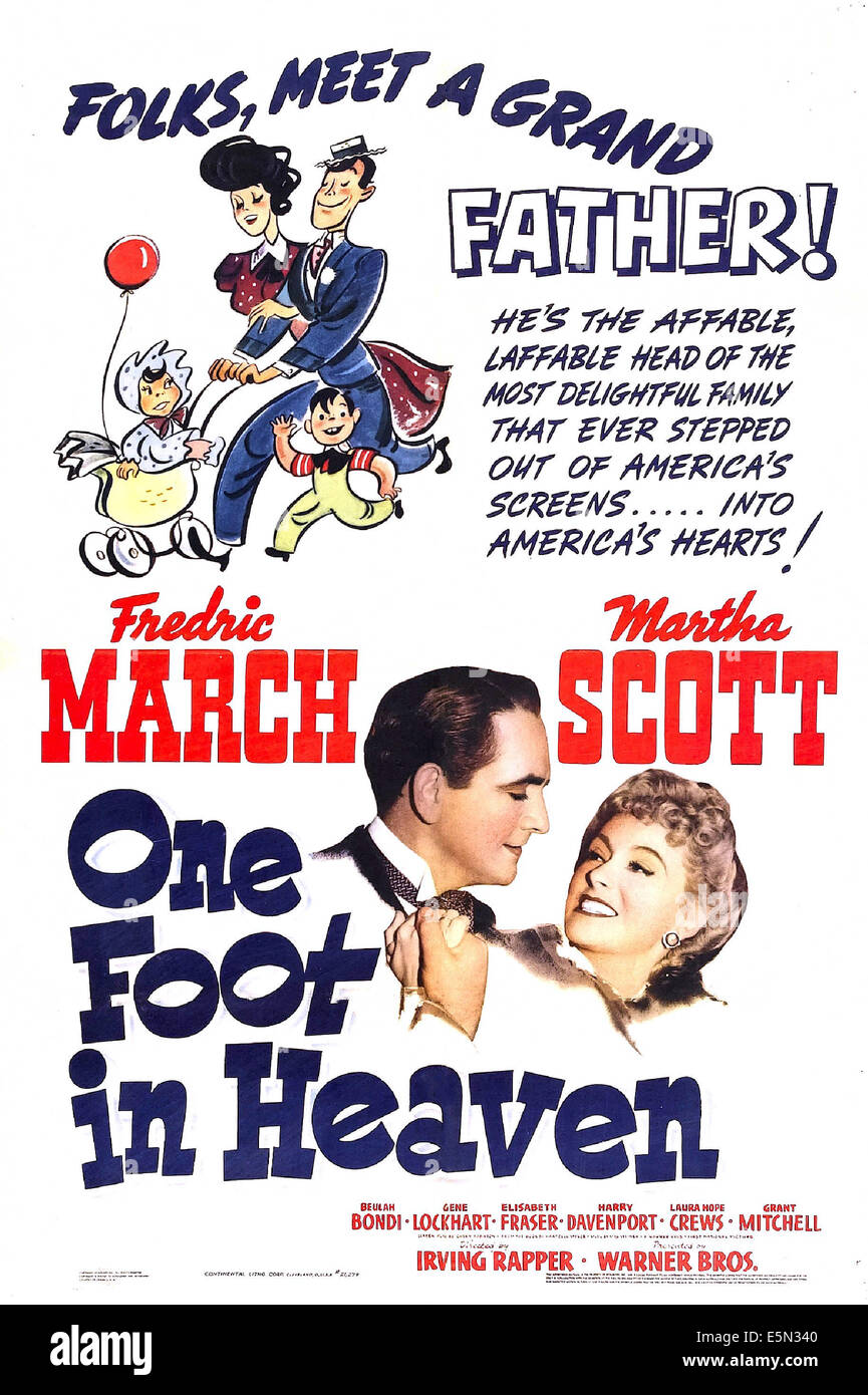 ONE FOOT IN HEAVEN, US poster, from left: Fredric March, Martha Scott, 1941 - Stock Image