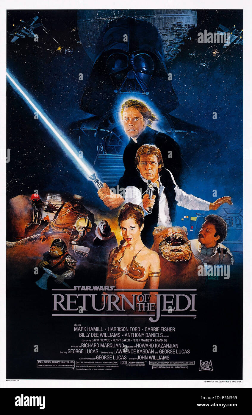 STAR WARS: EPISODE VI - RETURN OF THE JEDI, US poster art, from top: Darth Vader, Mark Hamill, Harrison Ford,  bottom - Stock Image