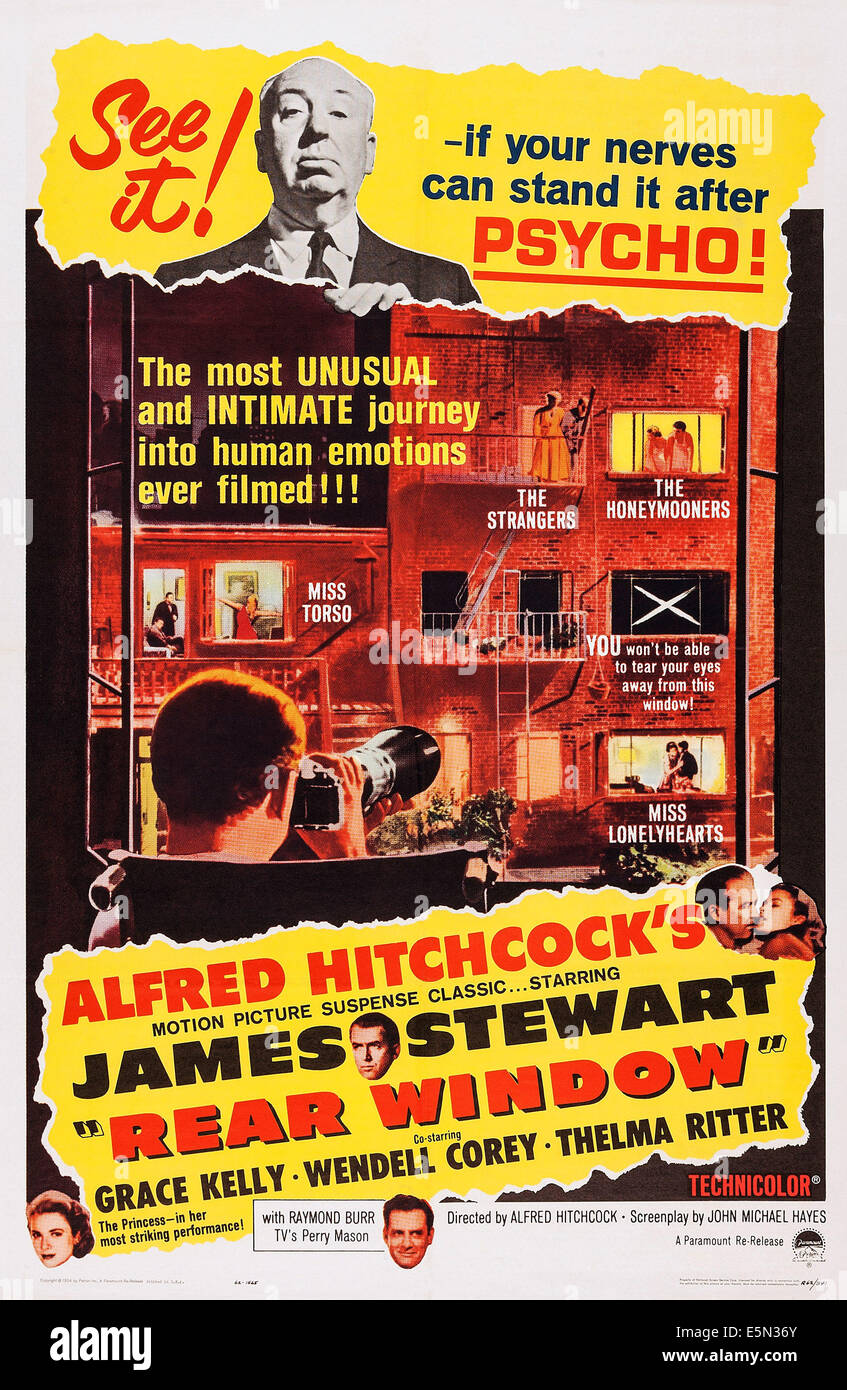 REAR WINDOW, US poster art, top: Alfred Hitchcock, bottom center: James Stewart, bottom from left: Grace Kelly, - Stock Image