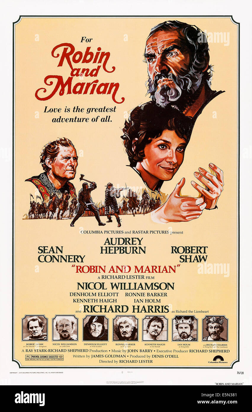 ROBIN AND MARIAN, US poster art, top from left: Robert Shaw, Audrey Hepburn, Sean Connery, bottom from left: Robert - Stock Image