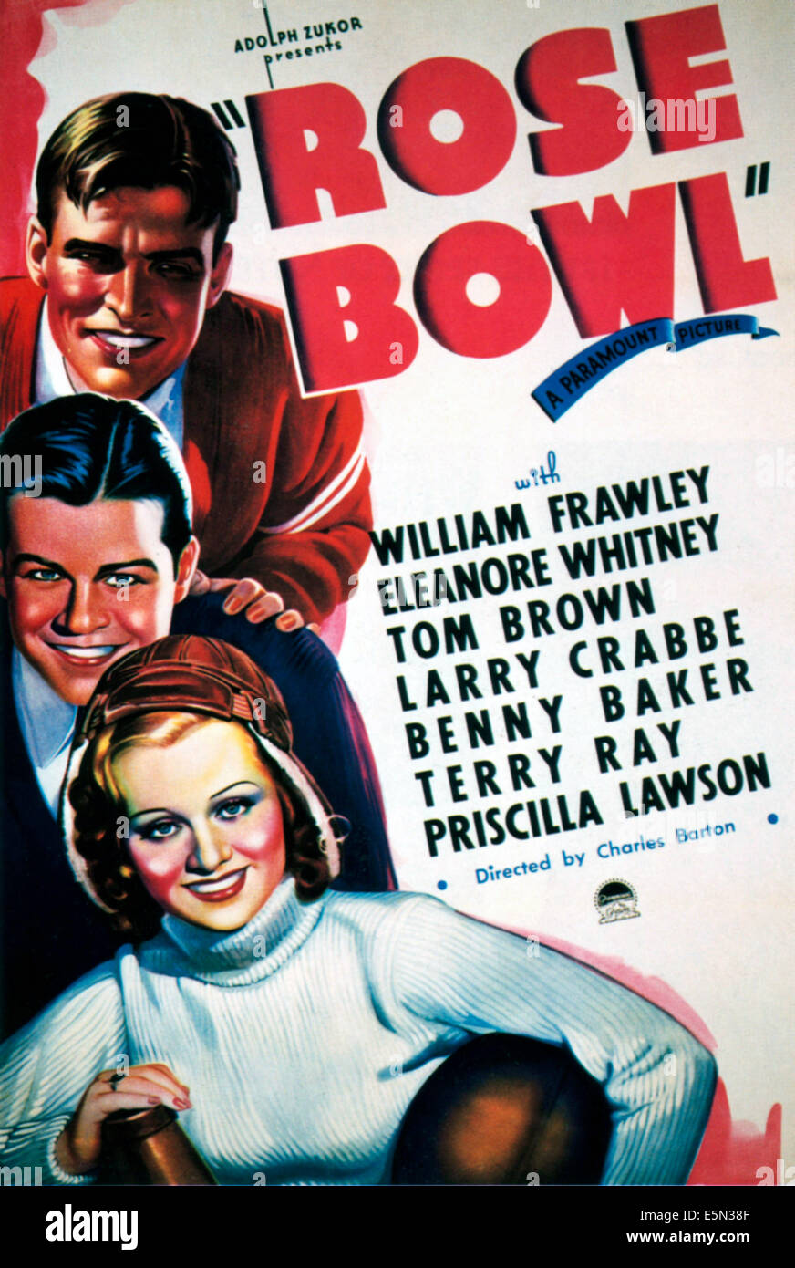 ROSE BOWL, from top: Larry 'Buster' Crabbe, Tom Brown, Eleanore Whitney, 1936. - Stock Image
