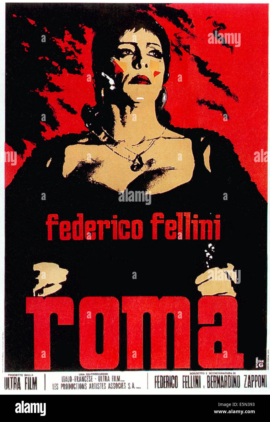 Roma Aka Fellini S Roma Italian Poster Art 1972 Stock