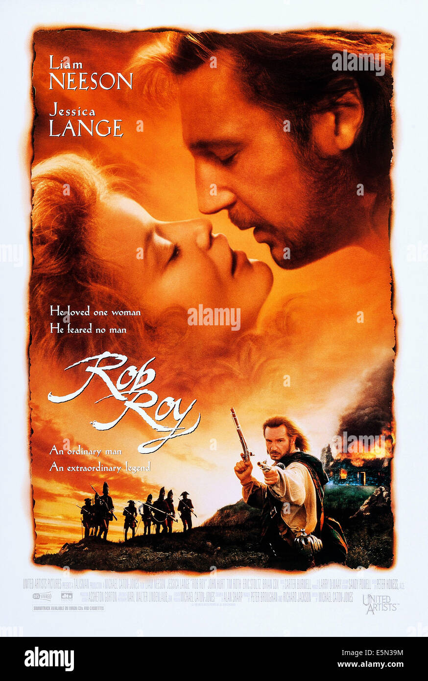 ROB ROY, US poster art, top from left: Jessica Lange, Liam Neeson, bottom right: Liam Neeson, 1995, ©United - Stock Image