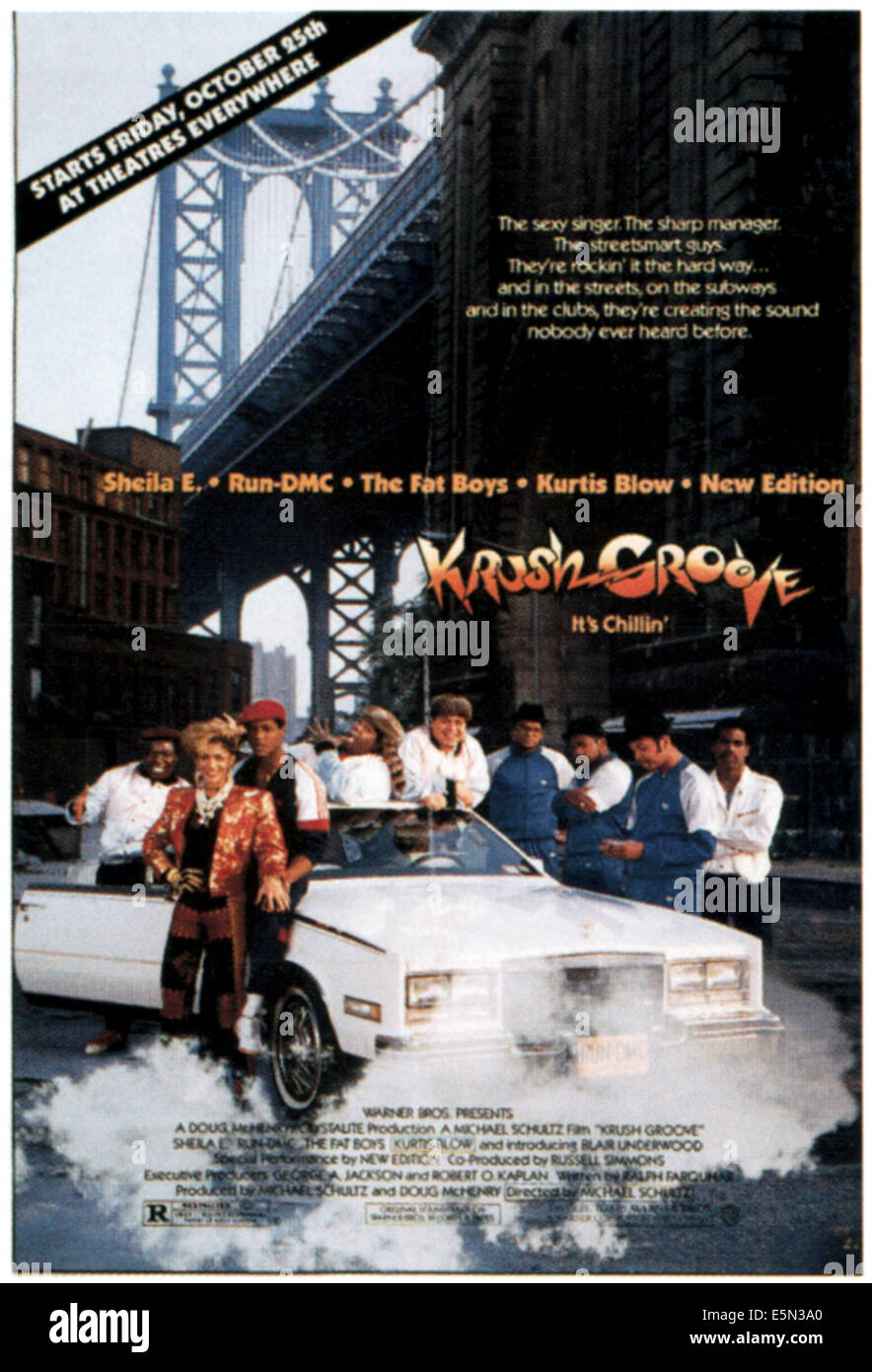 KRUSH GROOVE, from left: Sheila E., Blair Underwood, The Fat Boys, Run DMC, Kurtis Blow, 1985, ©Warner Bros. - Stock Image