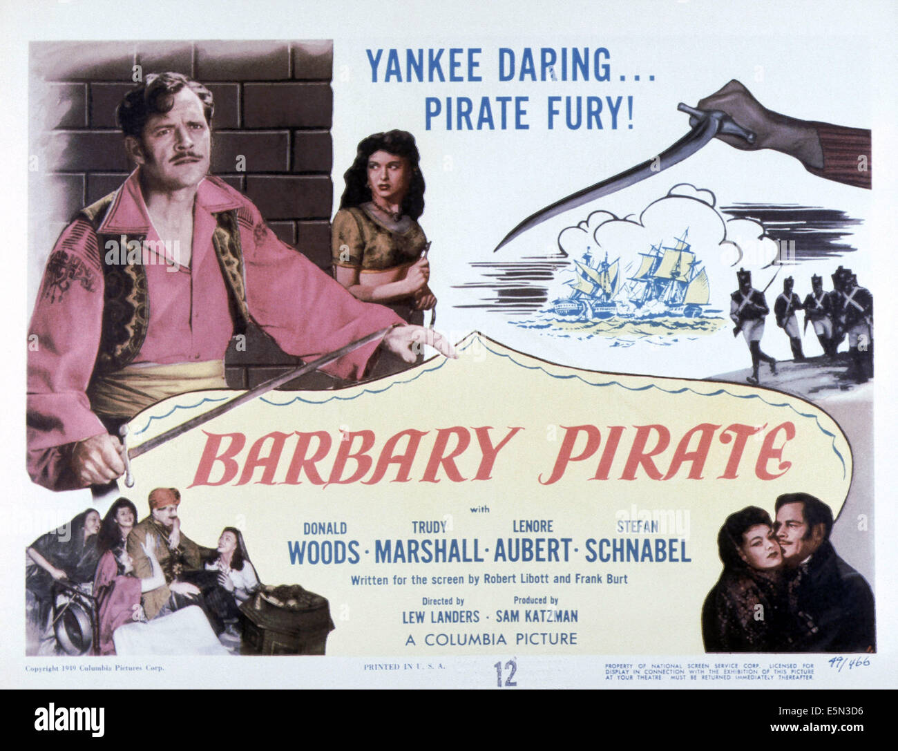 BARBARY PIRATE, top from left: Donald Woods, Trudy Marshall, bottom right from left: Trudy Marshall, Donald Woods, - Stock Image
