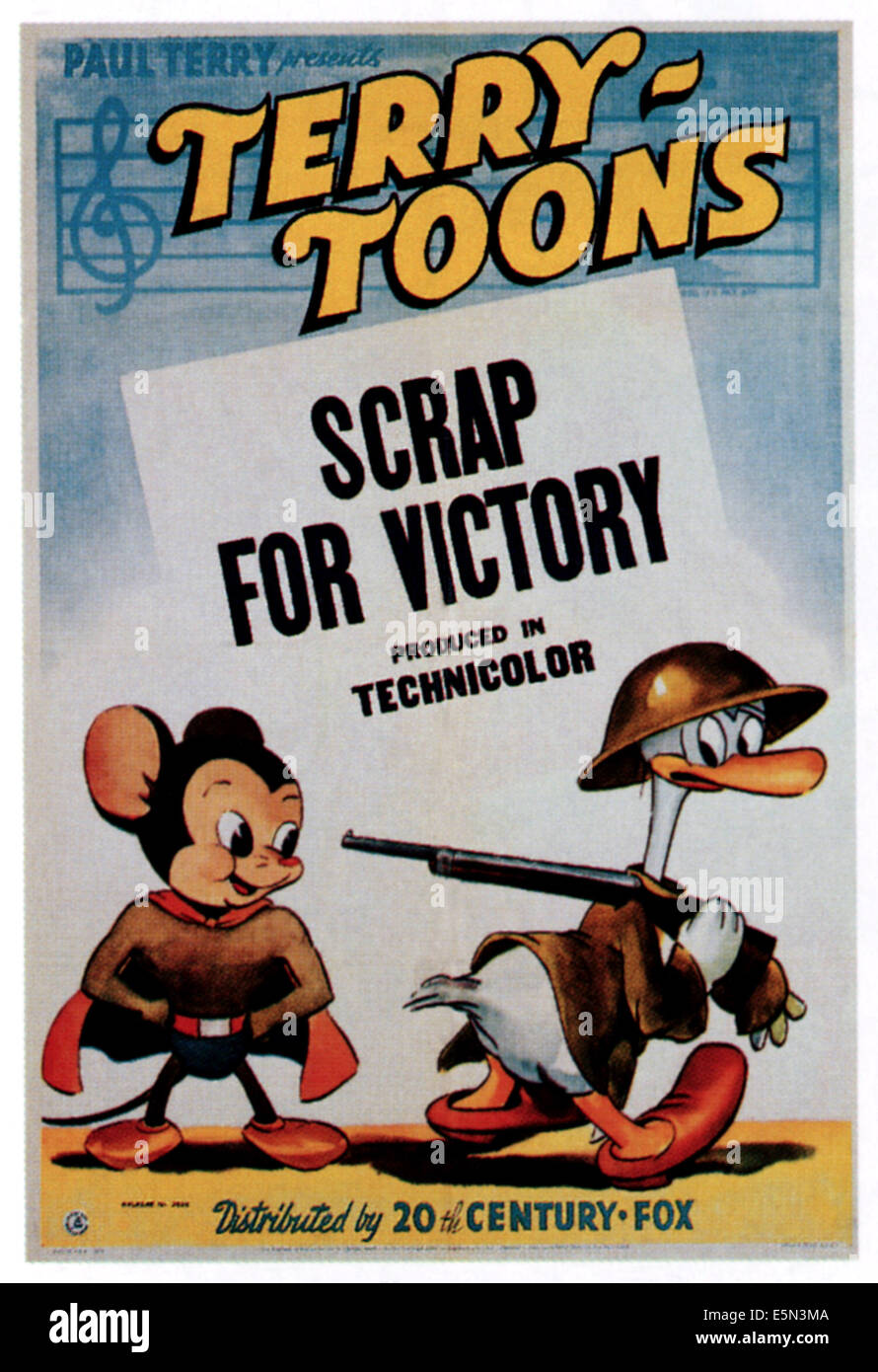 SCRAP FOR VICTORY, left: Mighty Mouse, 1943, TM and Copyright ©20th Century Fox Film Corp. All rights reserved./courtesy - Stock Image