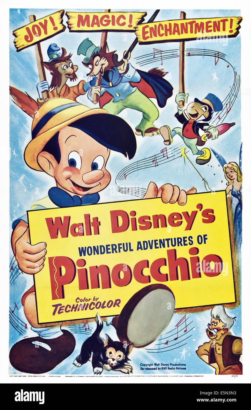 PINOCCHIO, clockwise from left center: Pinocchio, Gideon, J. Worthington Foulfellow (aka Honest JOhn), Jiminy Cricket, - Stock Image