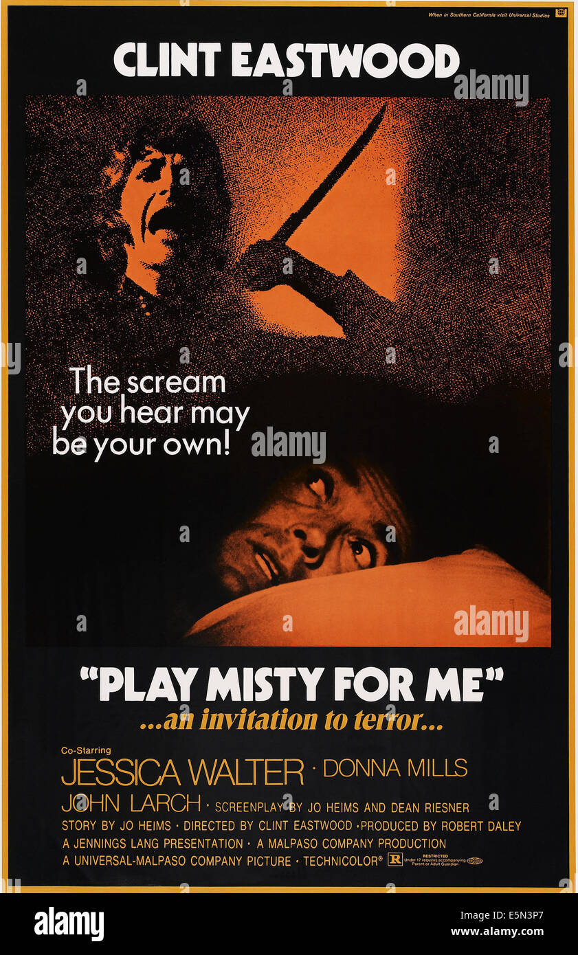 PLAY MISTY FOR ME, Jessica Walter, Clint Eastwood, 1971 - Stock Image