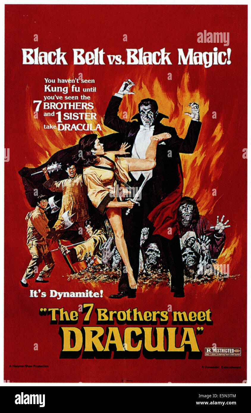 THE 7 BROTHERS MEET DRACULA (aka LEGEND OF THE SEVEN GOLDEN VAMPIRES), center: John Forbes-Robertson as Dracula, - Stock Image