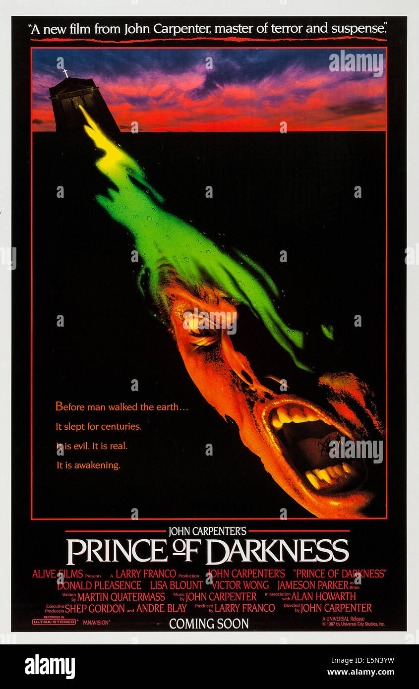 PRINCE OF DARKNESS, (aka JOHN CARPENTER'S PRINCE OF DARKNESS), US advance poster art, 1987. ©Universal - Stock Image