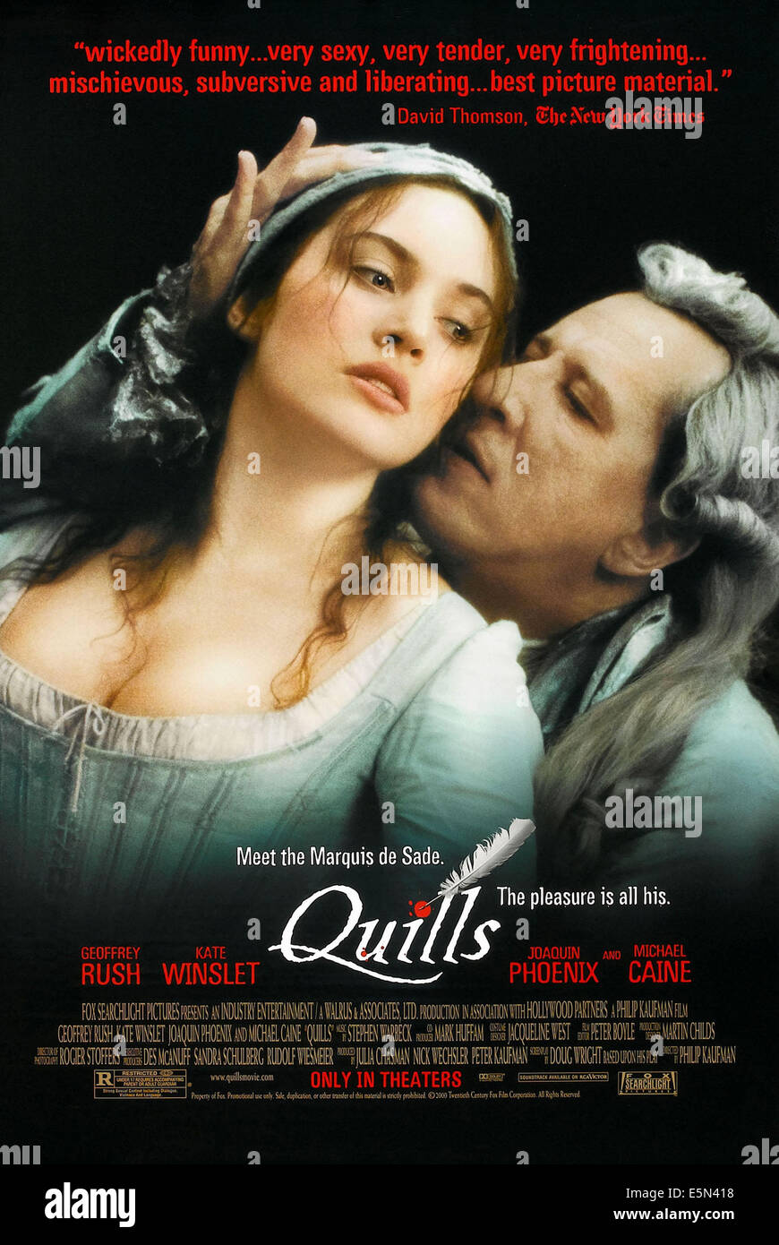 QUILLS, US poster art, from left: Kate Winslet, Geoffrey Rush, 2000, ©Fox Searchlight Pictures/courtesy Everett - Stock Image