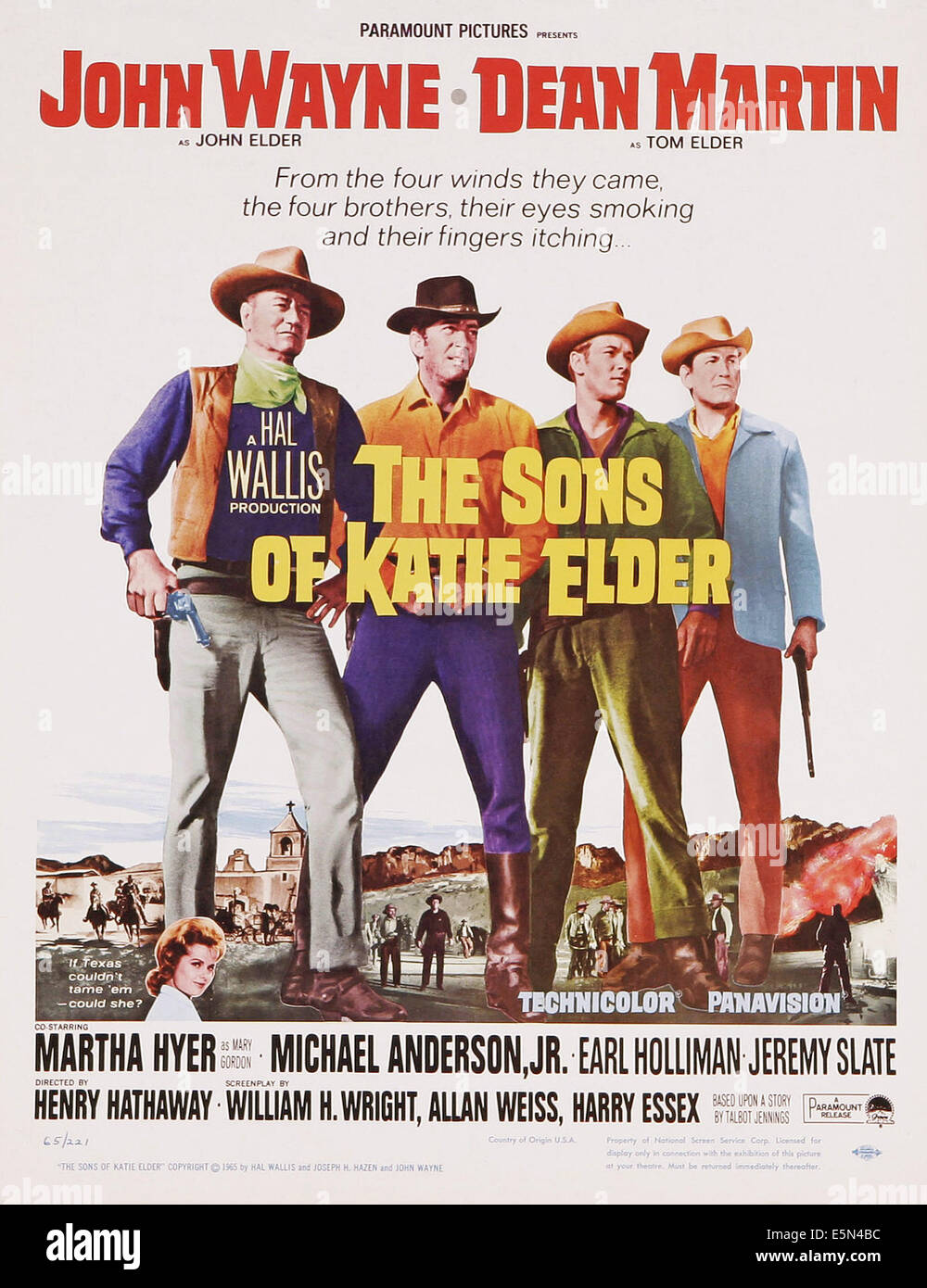 THE SONS OF KATIE ELDER, US poster art, from left: John Wayne, Dean Martin, Michael Anderson Jr., Earl Holliman, - Stock Image