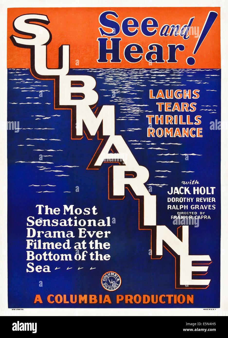 SUBMARINE, poster art, 1928. - Stock Image