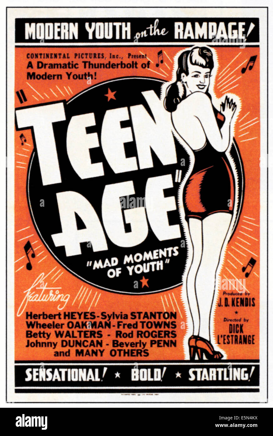 TEEN AGE, 1944. - Stock Image