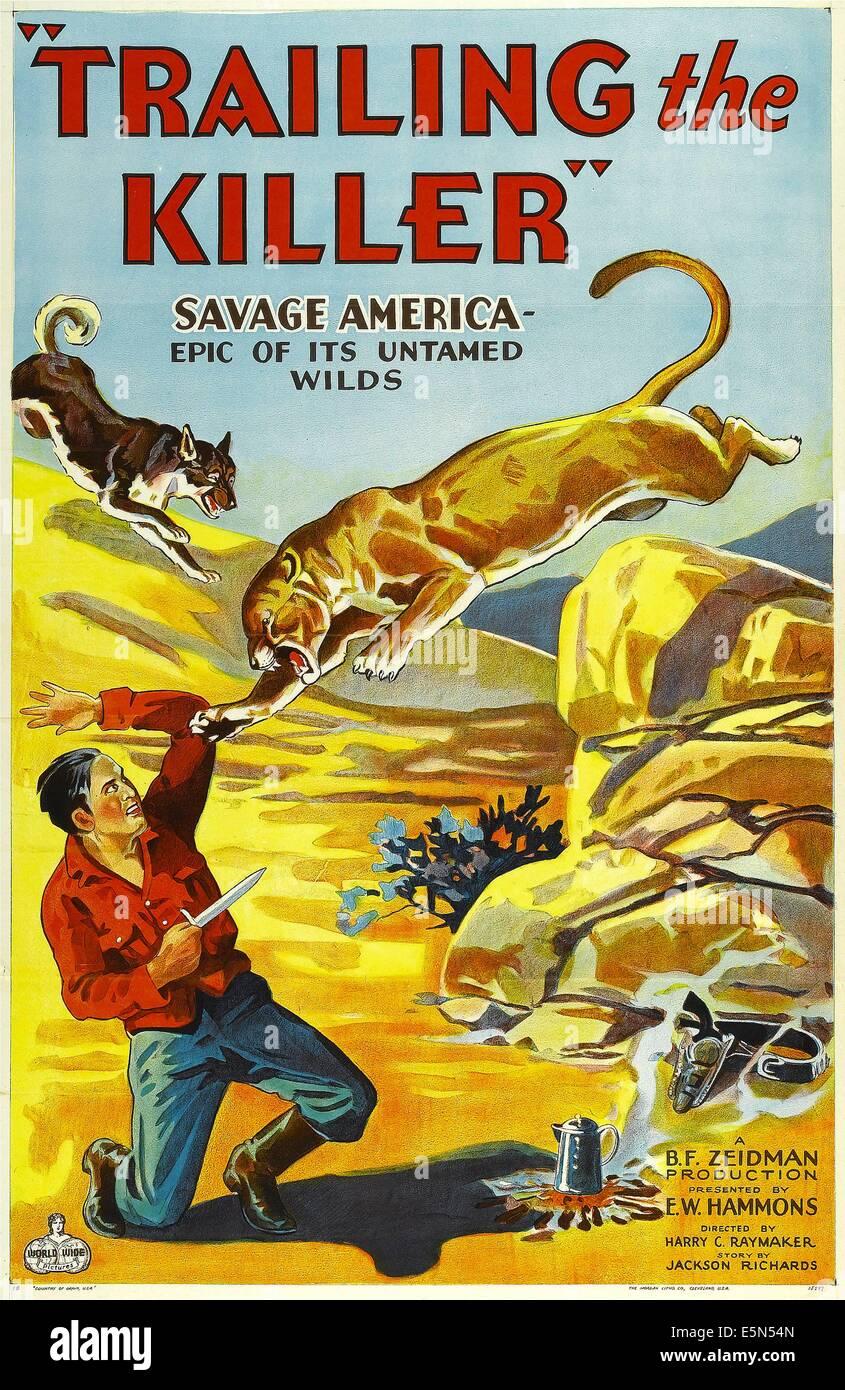 TRAILING THE KILLER, poster art, 1932. - Stock Image