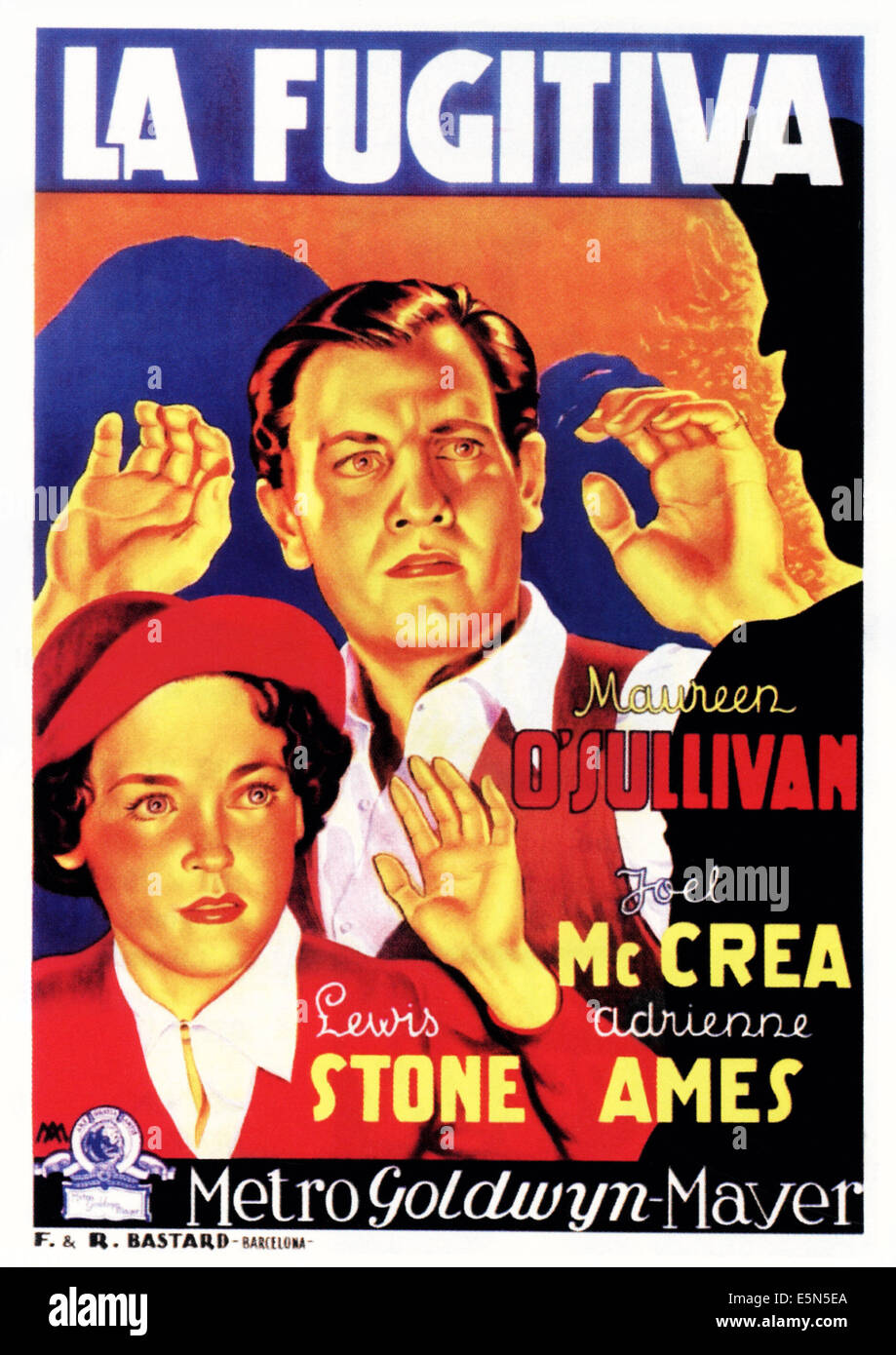 WOMAN WANTED Aka LA FUGITIVA From Left Maureen OSullivan Joel McCrea On Spanish Poster Art 1935