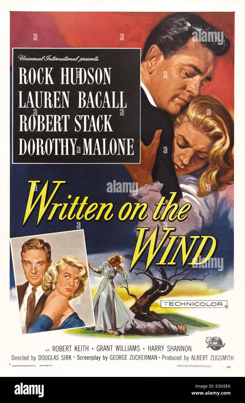 WRITTEN ON THE WIND, US poster art, top from left: Rock Hudson, Lauren Bacall, bottom from left: Robert Stack, Dorothy - Stock Image