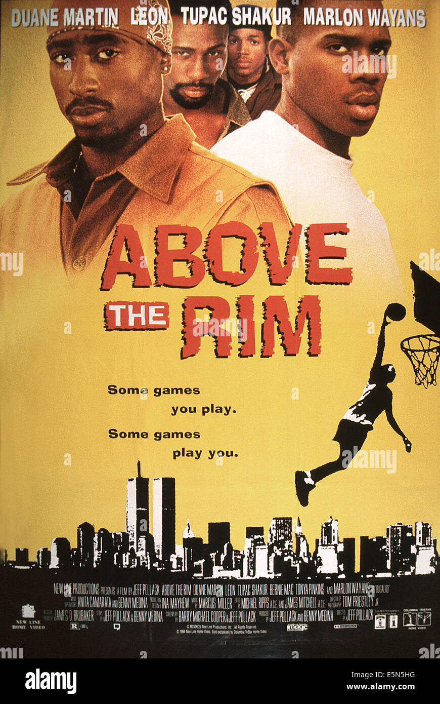 ABOVE THE RIM US Poster From Left Tupac Shakur Leon Marlon
