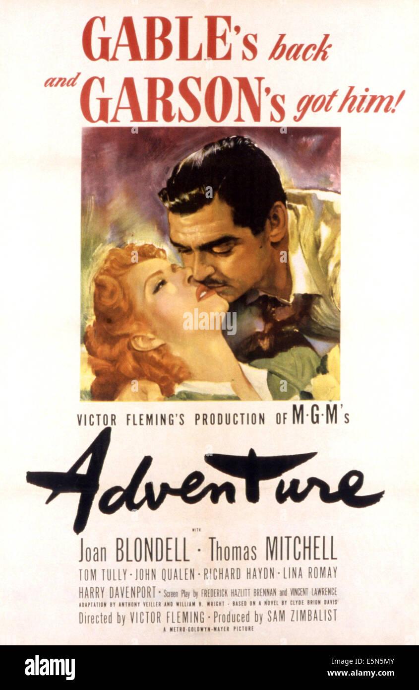 ADVENTURE, Greer Garson, Clark Gable, 1945 - Stock Image