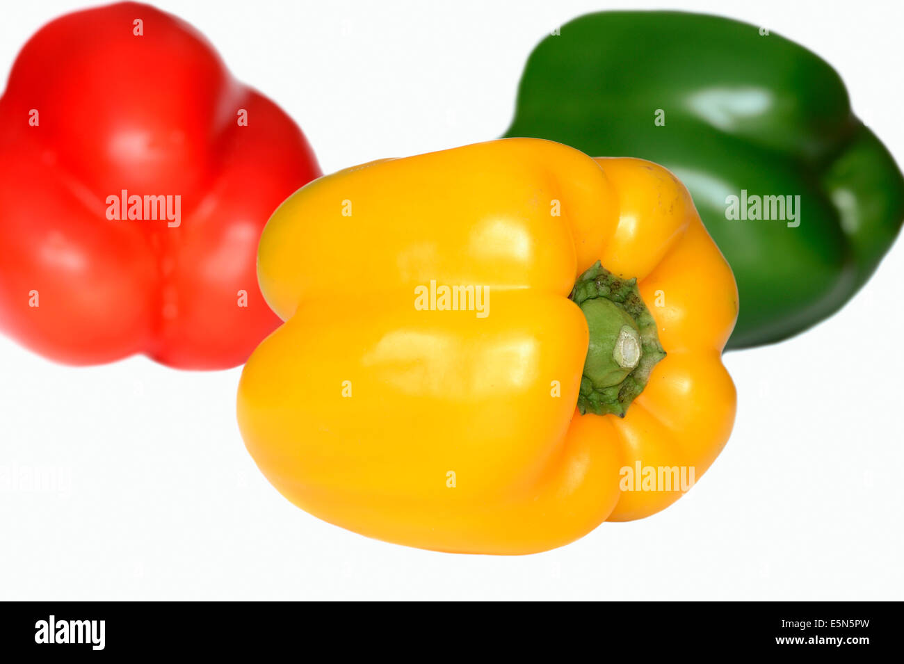 Green, yellow and red Pepper fruits (Capsicum annuum) - Stock Image