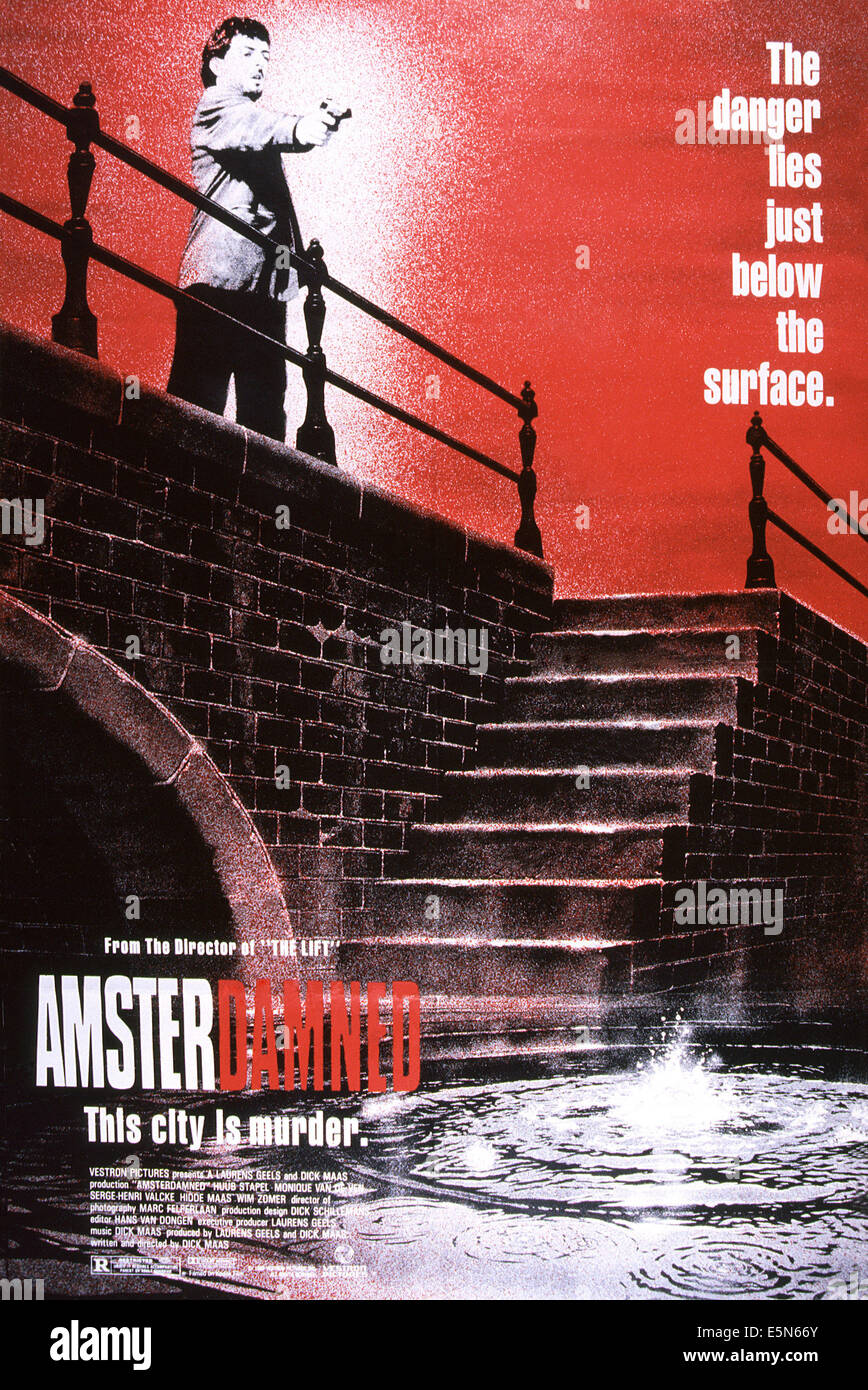 AMSTERDAMNED, poster, Huub Stapel (top left), 1988. ©Vestron Pictures/courtesy Everett Collection - Stock Image