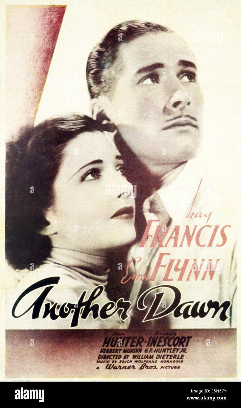 ANOTHER DAWN, l-r: Kay Francis, Errol Flynn on poster art, 1937 - Stock Image
