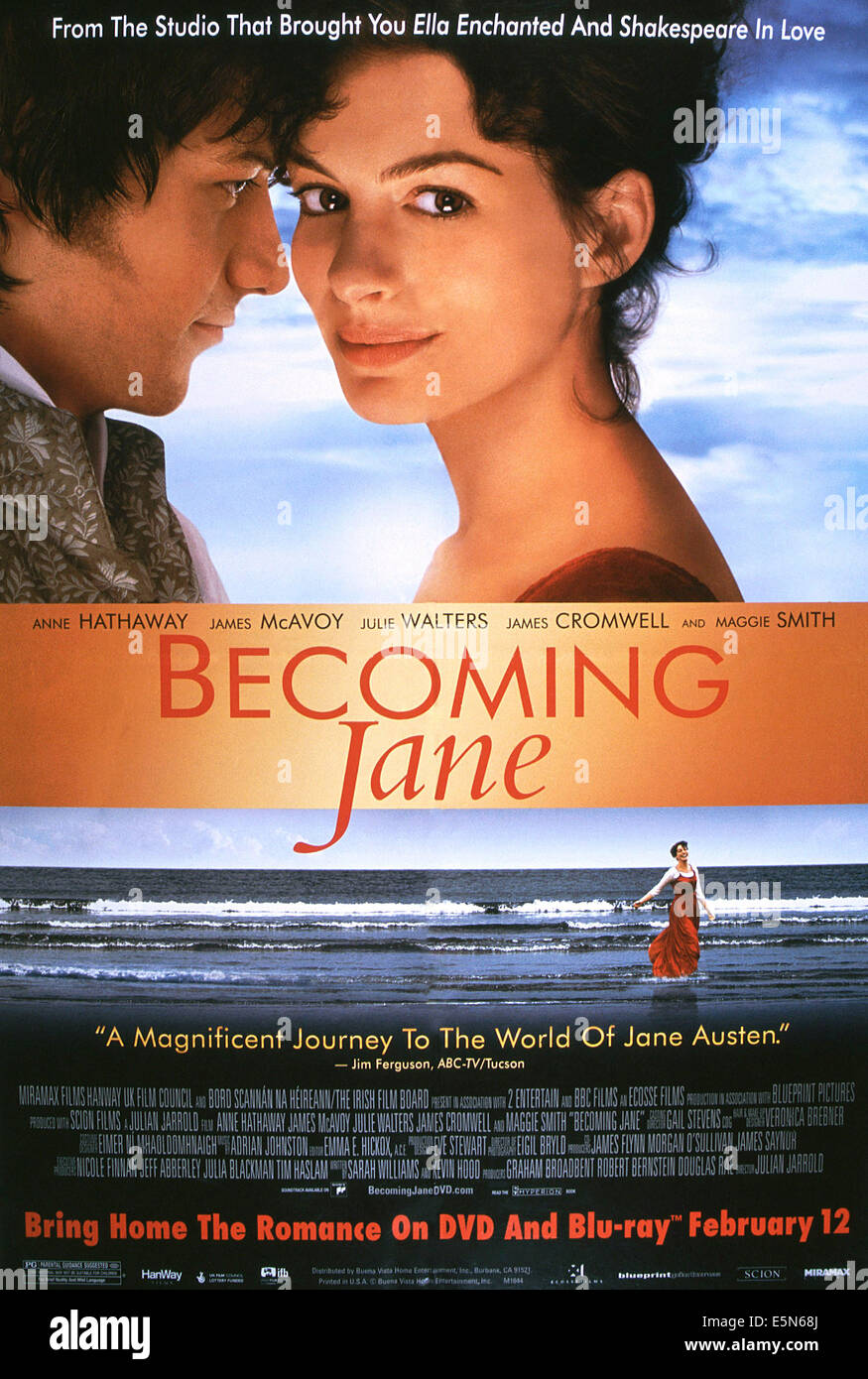 Becoming Jane From Left James Mcavoy Anne Hathaway 2007 Stock