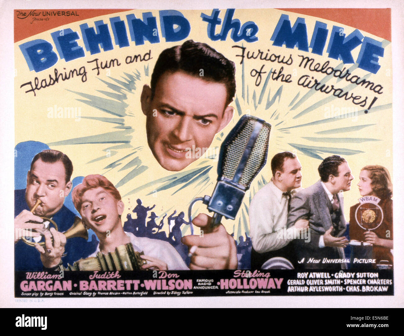BEHIND THE MIKE, from left: Don Wilson, Sterling Holloway, William Gargan, Don Wilson William Gargan, Judith Barrett, - Stock Image