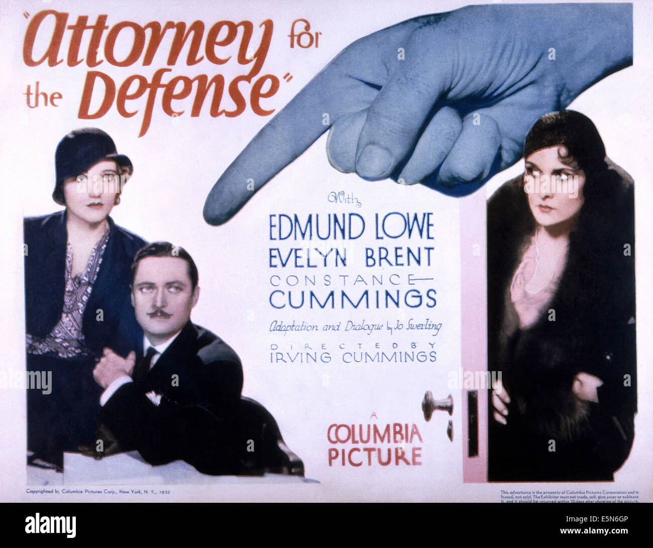 ATTORNEY FOR THE DEFENSE, from left: Constance Cummings, Edmund Lowe, Evelyn Brent, 1932 - Stock Image