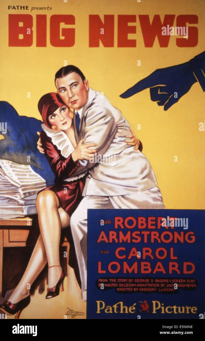 BIG NEWS, Carole Lombard, Robert Armstrong, 1929 - Stock Image