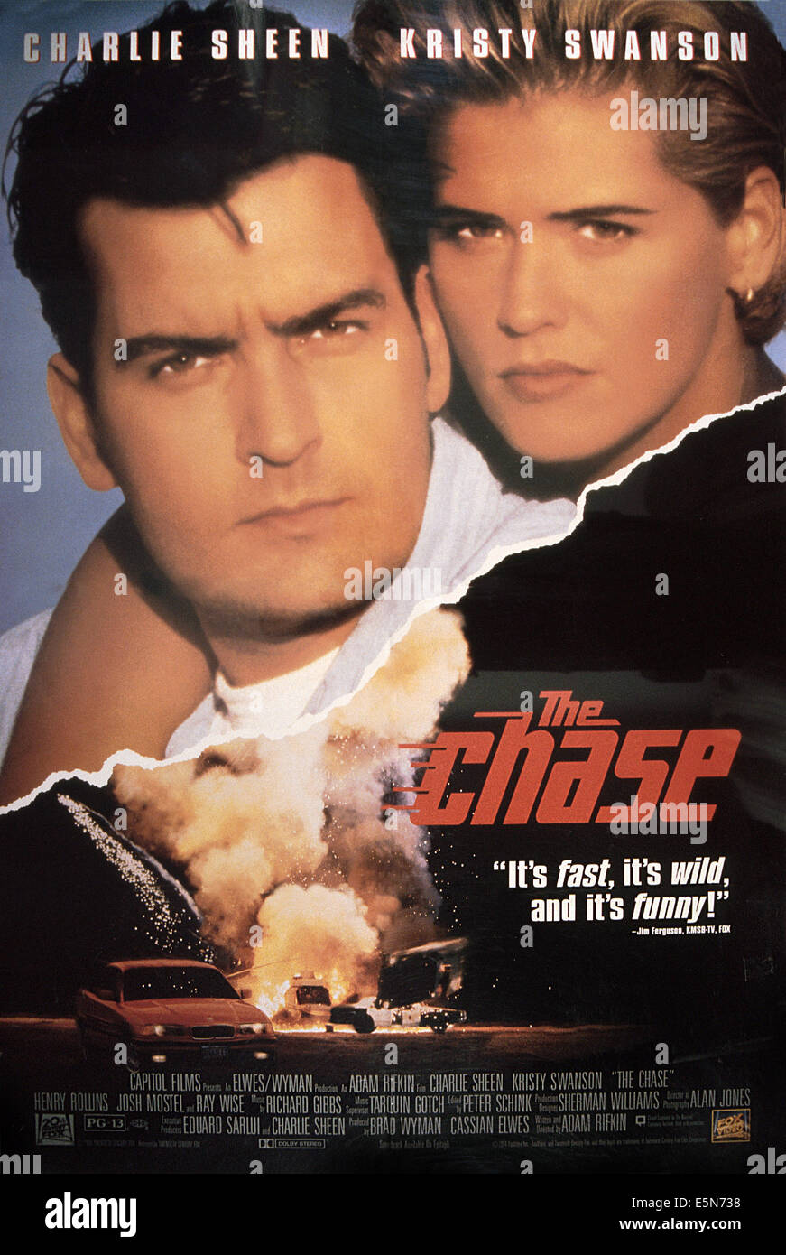 THE CHASE, U.S. poster, from left: Charlie Sheen, Kristy Swanson, 1994. ©20th Century Fox-Film Corporation, - Stock Image