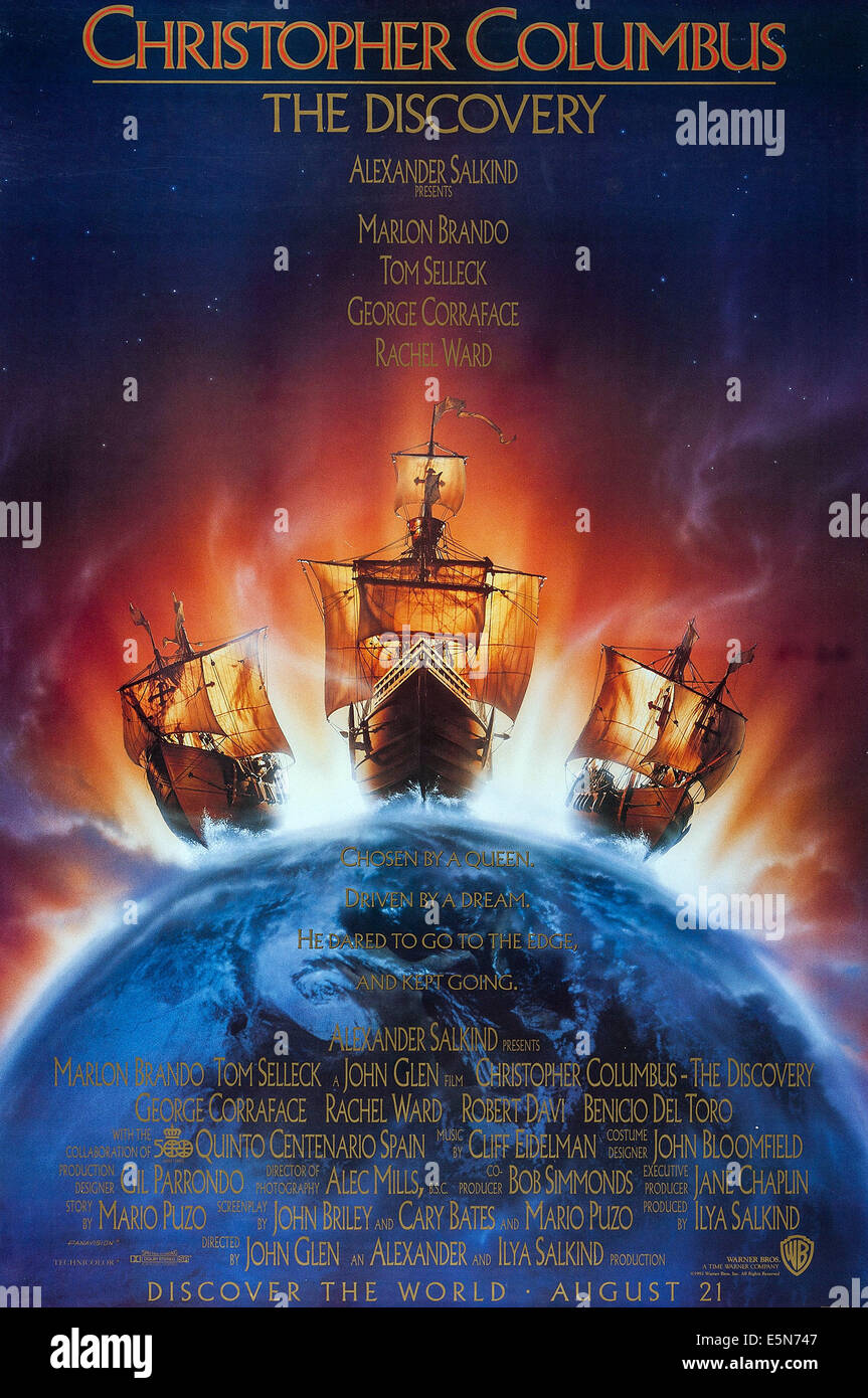 CHRISTOPHER COLUMBUS: THE DISCOVERY, US advance poster art, 1992, © Warner Brothers/courtesy Everett Collection - Stock Image