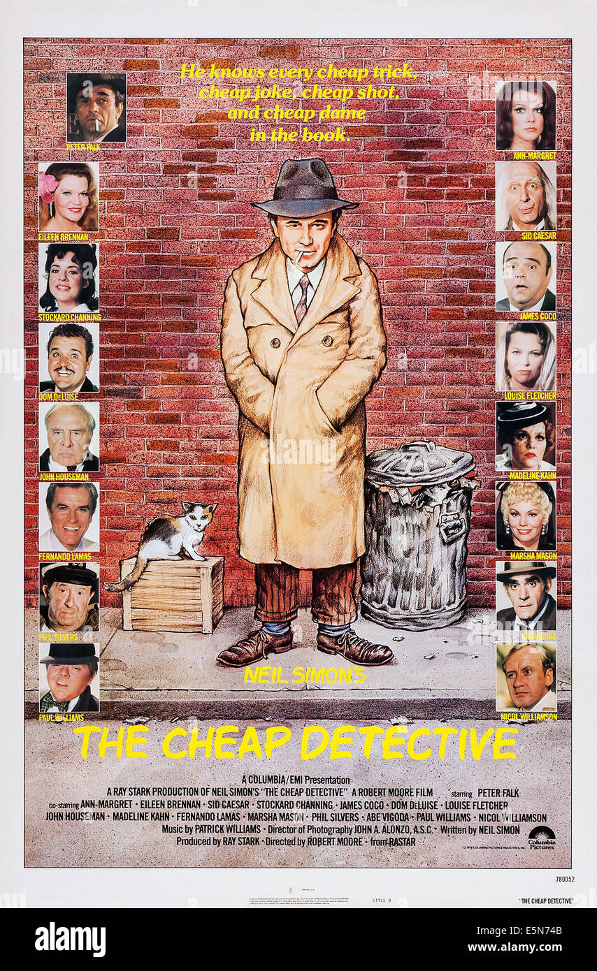 THE CHEAP DETECTIVE, U.S. poster, left, from top: Peter Falk, Eileen Brennan, Stockard Channing, Dom DeLuise, John - Stock Image