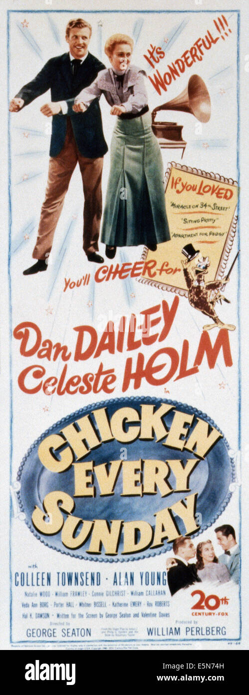 CHICKEN EVERY SUNDAY, U.S. poster, top, from left: Dan Dailey, Celeste Holm, 1949. ©20th Century-Fox Film Corporation, - Stock Image