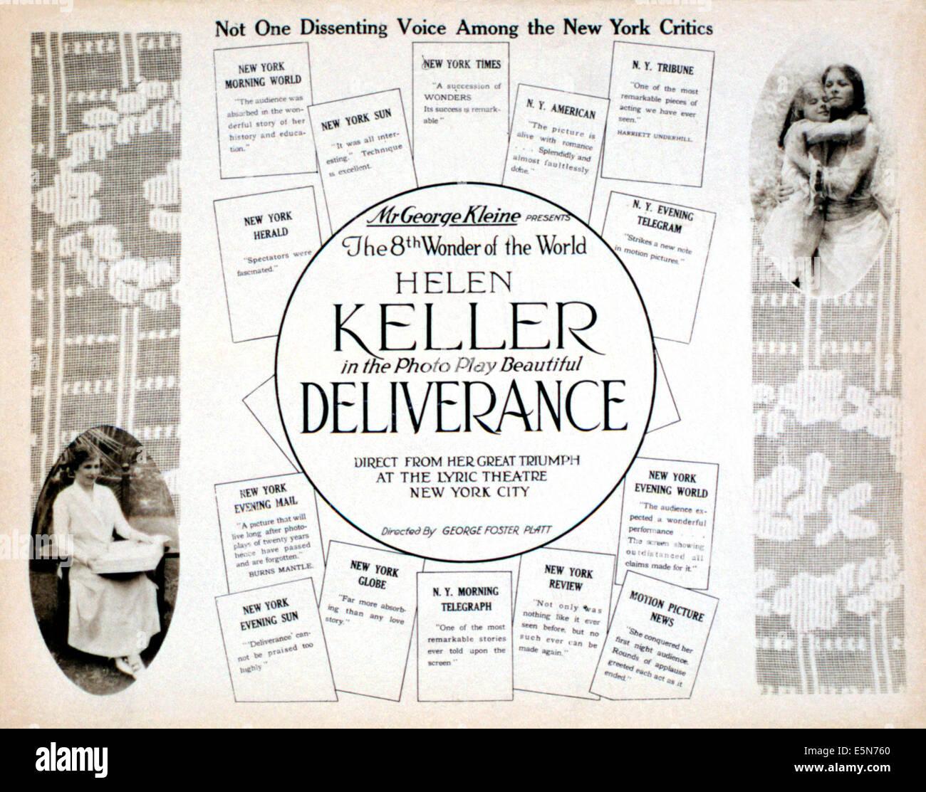 DELIVERANCE, Helen Keller, 1919 - Stock Image