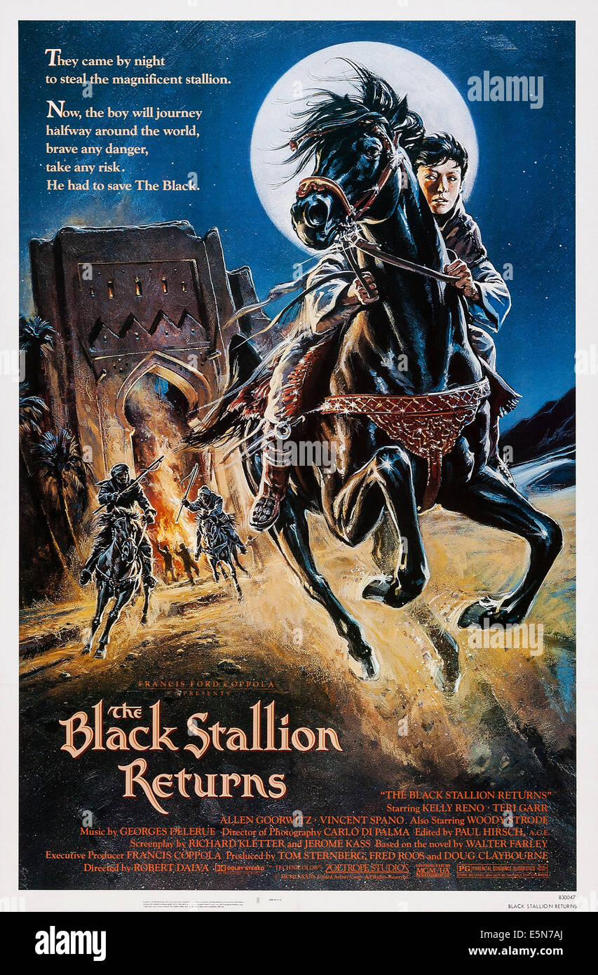 THE BLACK STALLION RETURNS, U.S. poster, Kelly Reno, 1983. ©MGM/UA Entertainment Company/courtesy Everett Collection - Stock Image