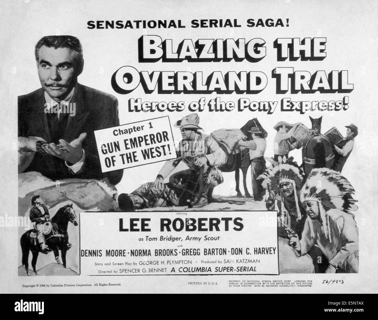 BLAZING THE OVERLAND TRAIL, Lee Roberts (kneeling), 1956 - Stock Image